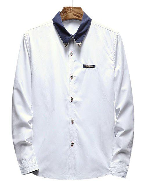 Chest Metal Embroidery Edge Contrast Shirt - WHITE XS
