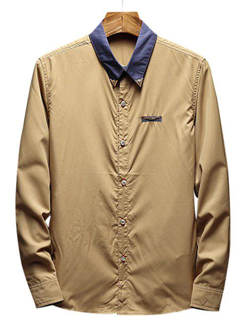 Chest Metal Embroidery Edge Contrast Shirt - LIGHT KHAKI M