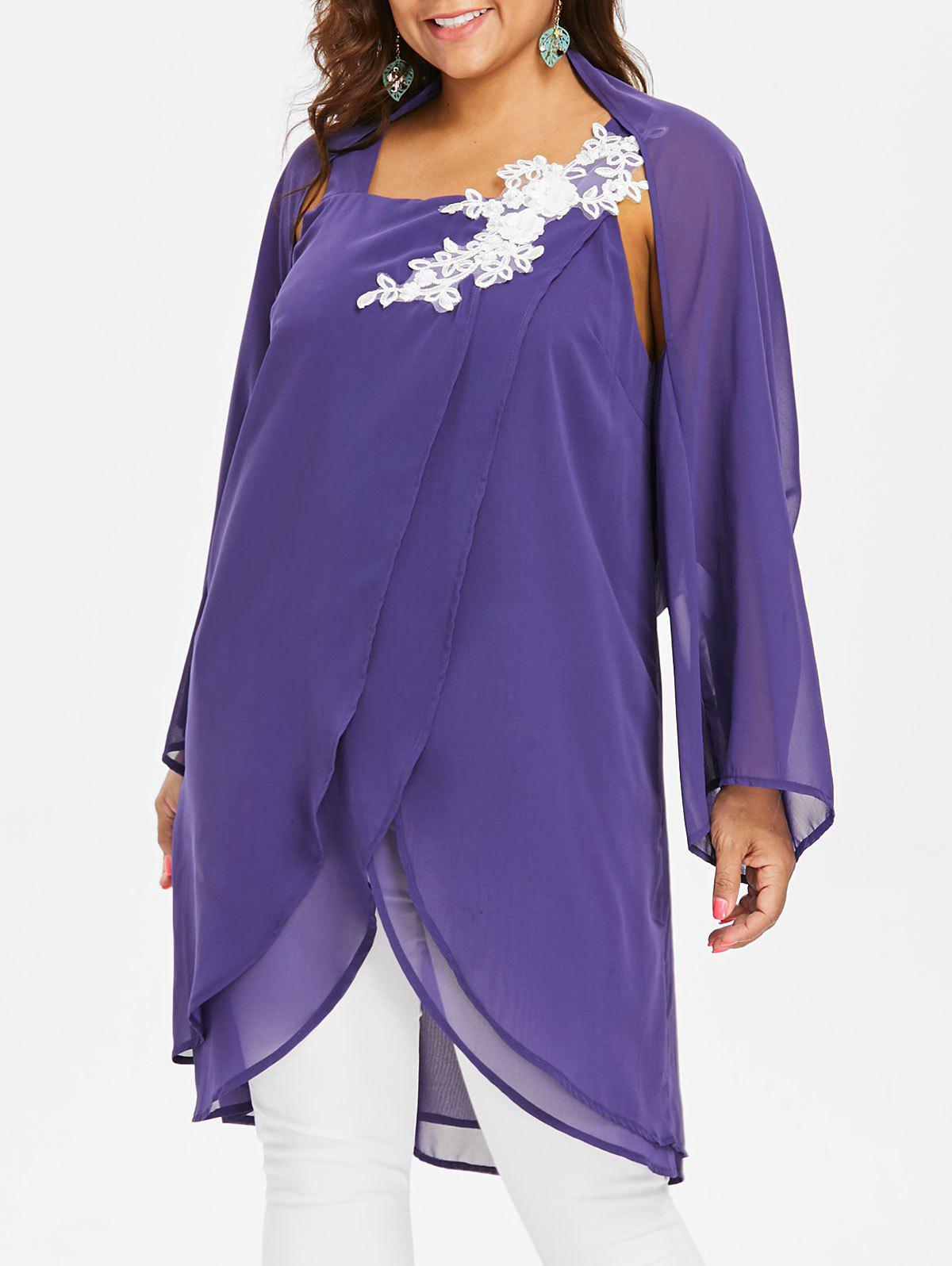 Plus Size Overlap Blouse With Chiffon Cape - PURPLE 2X