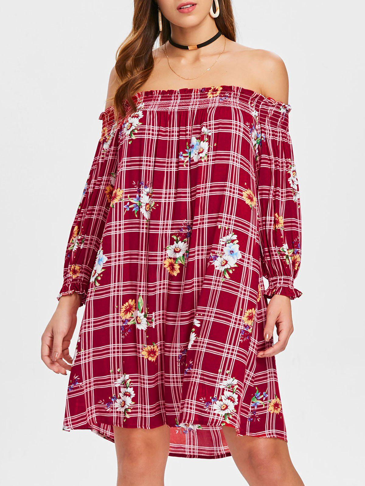 Floral Plaid Long Sleeve Open Shoulder Dress - multicolor M