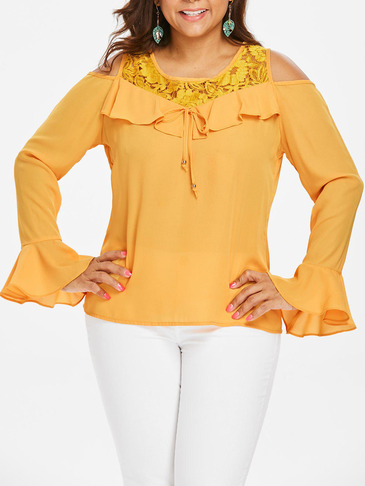 Plus Size Open Shoulder Lace Ruffle Blouse - BEE YELLOW 2X