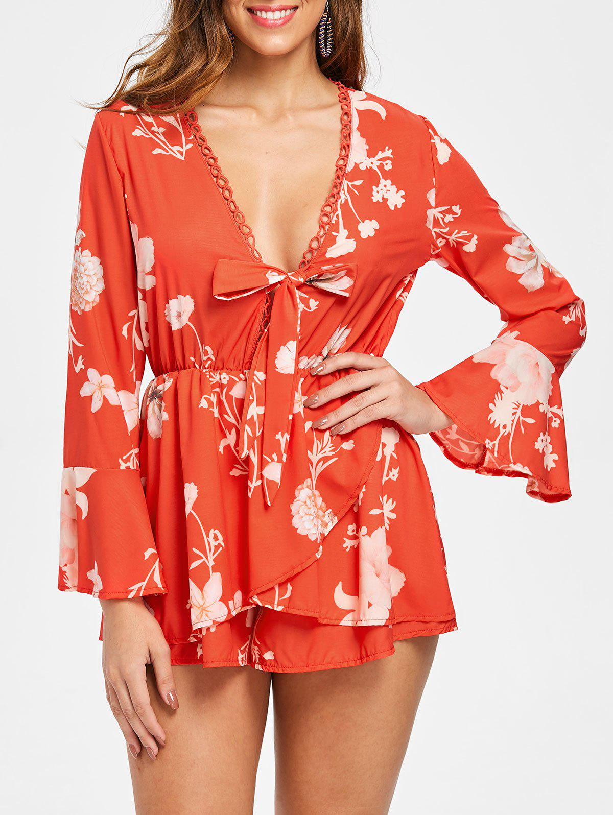 Floral Print Flare Sleeve Romper - RED M