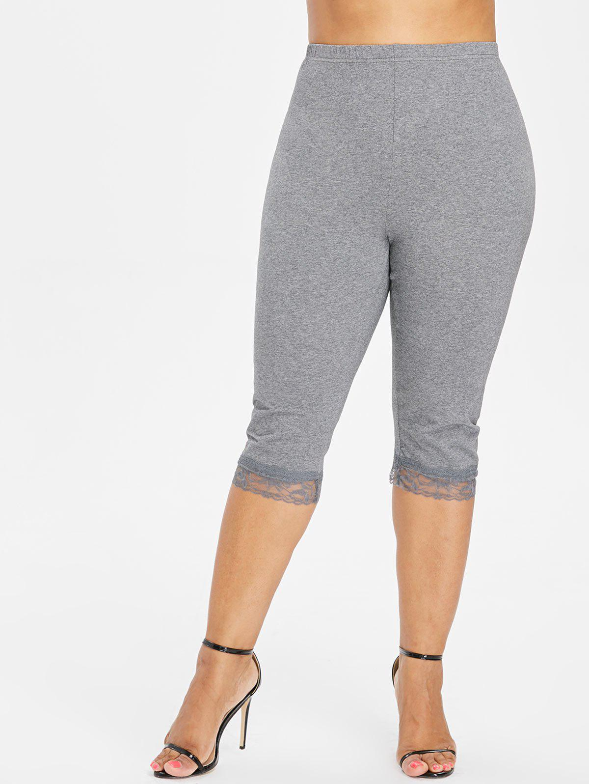 Plus Size High Waisted Lace Hem Leggings - GRAY 1X