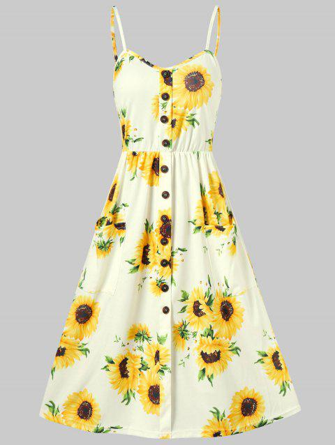 Sunflower Print Button Up A Line Cami Dress - YELLOW S