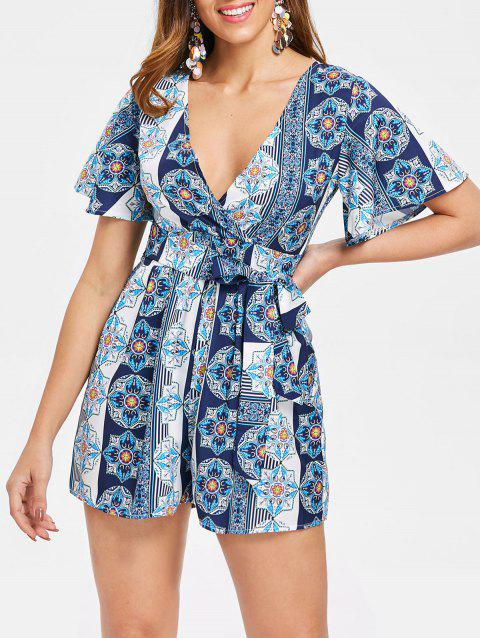 Plunge Ethnic Print Romper with Belt - multicolor L