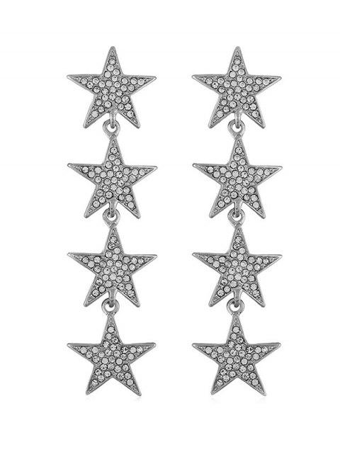 Rhinestone Five Pointed Star Pendant Earrings - SILVER
