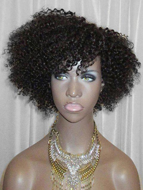 Inclined Bang Short Fluffy Curly Lace Front Synthetic Wig - BLACK