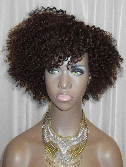 Inclined Bang Short Fluffy Curly Lace Front Synthetic Wig - DEEP BROWN