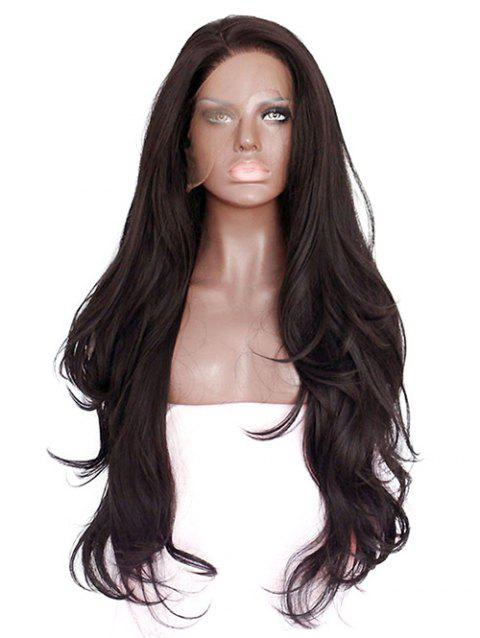 Long Inlclined Bang Slightly Curly Lace Front Synthetic Wig - DEEP BROWN