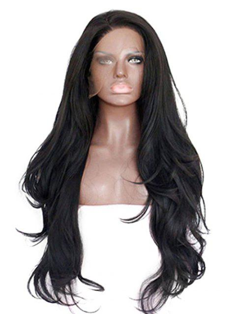 Long Inlclined Bang Slightly Curly Lace Front Synthetic Wig - BLACK