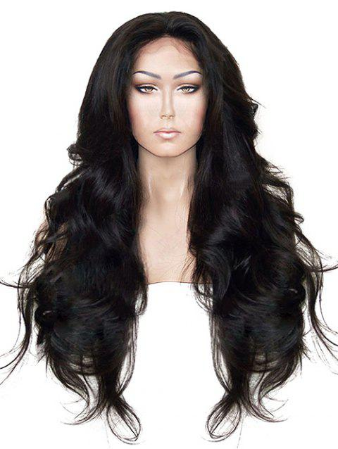 Long Free Part Wavy Synthetic Fiber Lace Front Wig - BLACK 24INCH