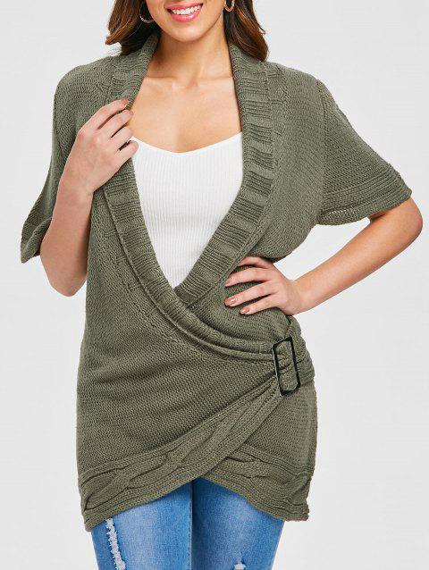 98580b25705672 44% OFF  2019 Shawl Collar Cable Knit Surplice Sweater Dress In ARMY ...