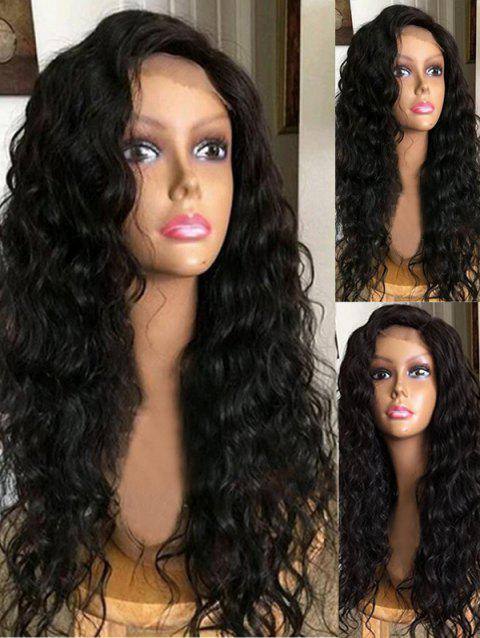 Long Inclined Bang Water Wave Lace Front Synthetic Wig - BLACK