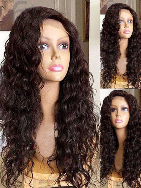 Long Inclined Bang Water Wave Lace Front Synthetic Wig - DEEP BROWN