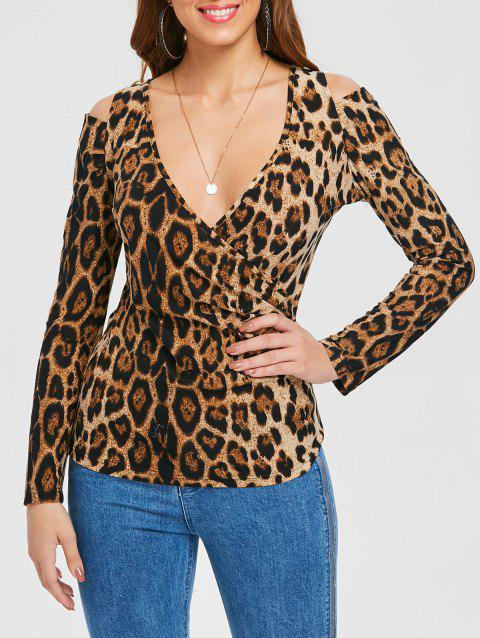 Cold Shoulder Leopard Print T-shirt - multicolor L