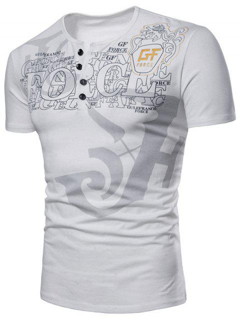 Casual Letter Print Henley T-shirt - WHITE 2XL