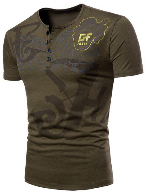 Casual Letter Print Henley T-shirt - ARMY GREEN M