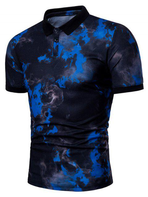 Casual Fire Flames Print Short Sleeve Polo Shirt - BLUE L