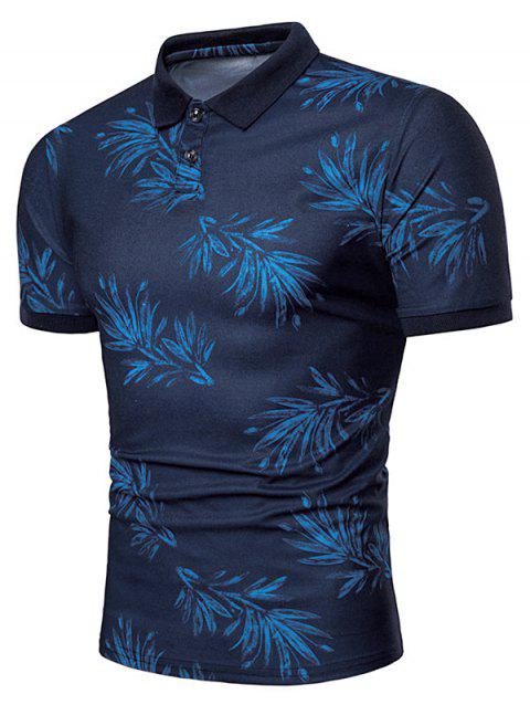 Leaves Print Short Sleeve Breathable Polo Shirt - BLUE M