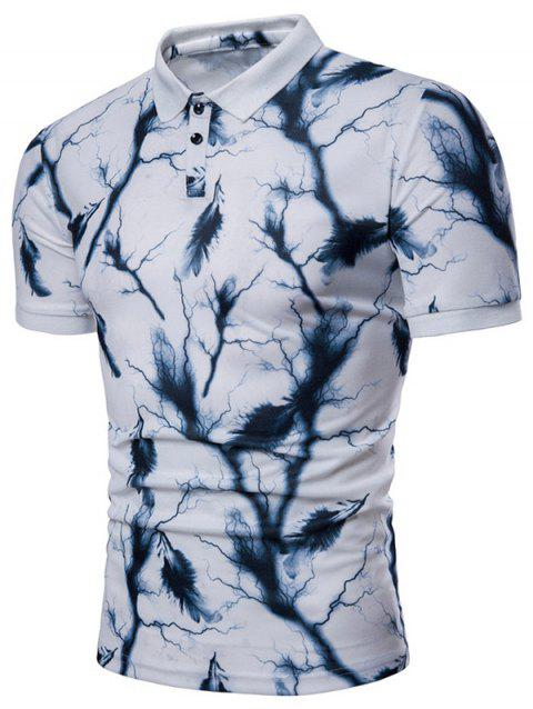 Lightning Feather Print Casual Polo Shirt - WHITE M