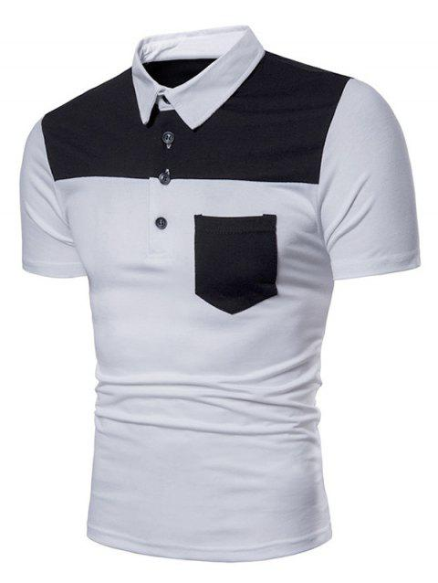 Contrast Top Pocket Patch Polo Shirt - WHITE XL