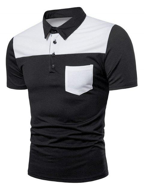 Contrast Top Pocket Patch Polo Shirt - BLACK M
