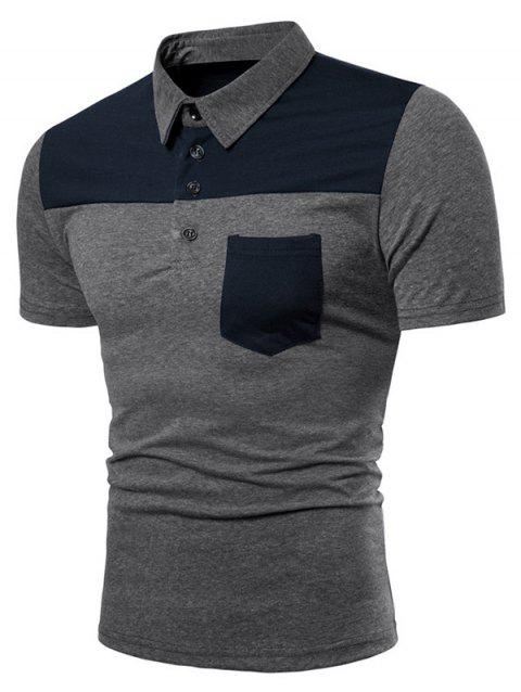 Contrast Top Pocket Patch Polo Shirt - GRAY XL