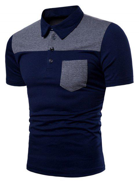 Contrast Top Pocket Patch Polo Shirt - CADETBLUE M