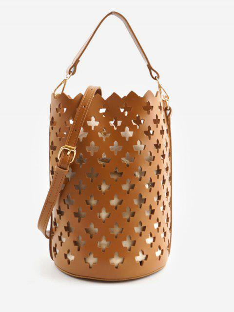Hollow Out Bucket Shaped Scallop Crossbody Bag - BROWN