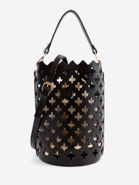 Hollow Out Bucket Shaped Scallop Crossbody Bag - BLACK