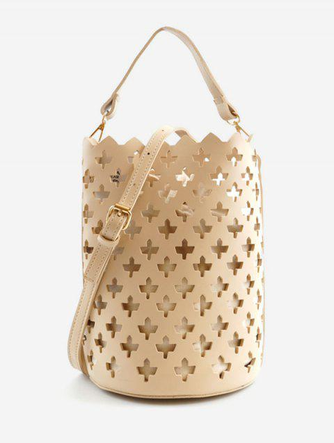 Hollow Out Bucket Shaped Scallop Crossbody Bag - APRICOT