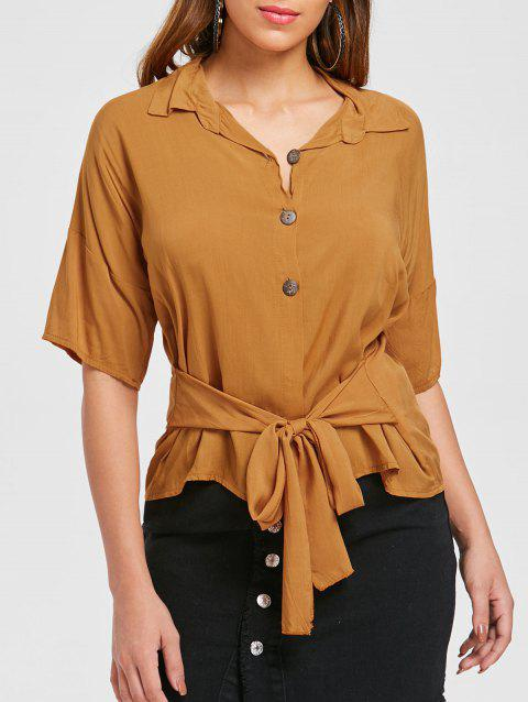 Buttoned Self Tie Shirt - ORANGE GOLD M