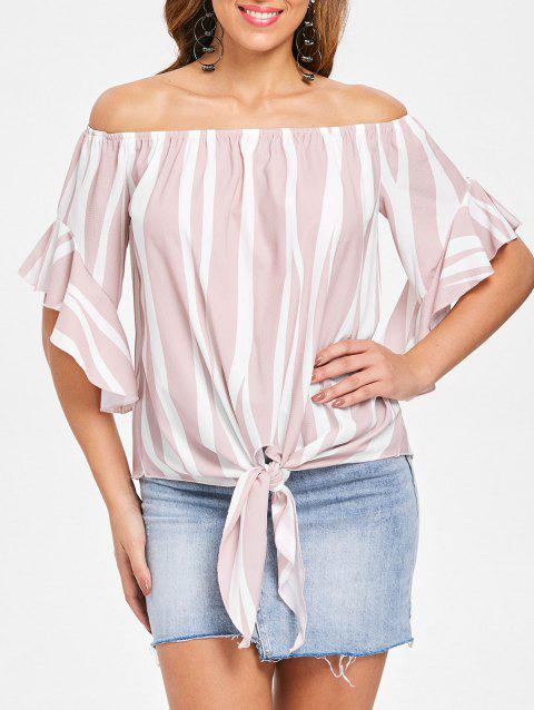 Off Shoulder Striped Front Tie Top - LIGHT PINK S