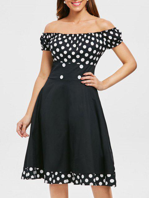 Retro Dotted Off Shoulder Midi Flare Dress - BLACK XL