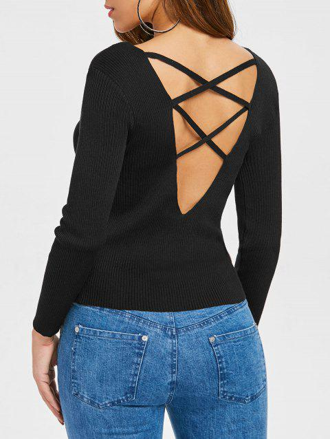 V Neck Criss Cross Sweater - BLACK S