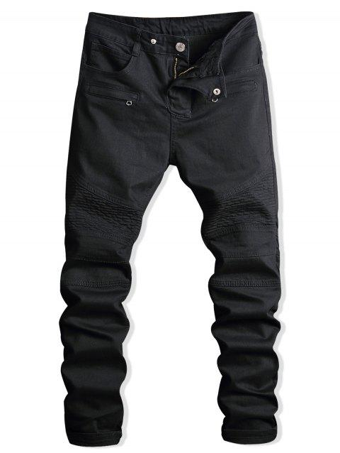 Zip Fly Paint Biker Jeans - BLACK 34