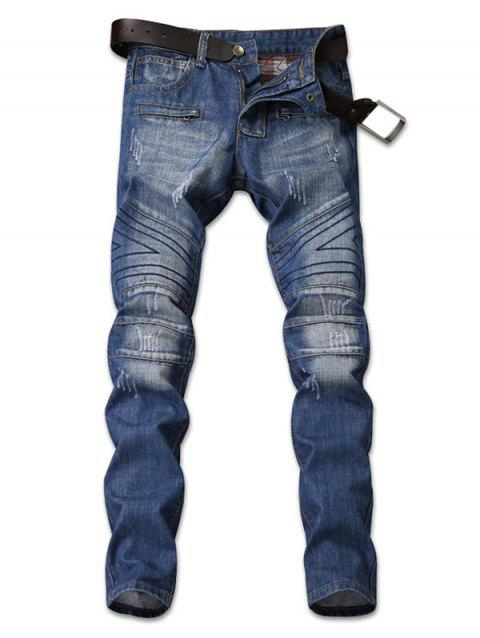 Zip Embellished Faded Taper Fit Jeans - DENIM DARK BLUE 38