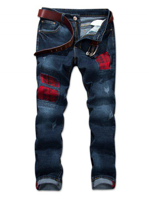 Check Print Panel Distressed Jeans - DENIM DARK BLUE 34