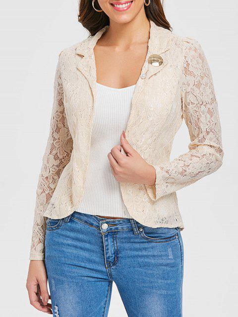 Asymmetrical Back Slit Lace Blazer - APRICOT XL