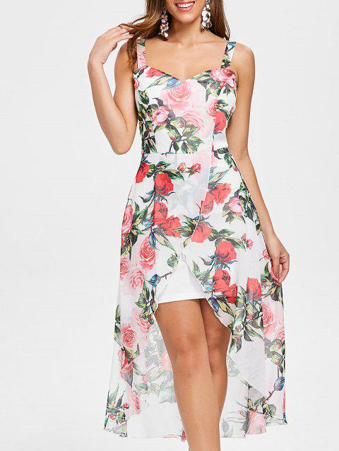 Flower Print Sleeveless Asymmetrical Chiffon Dress - WHITE XL