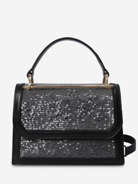 Flap PU Leather Sling Bag - BLACK