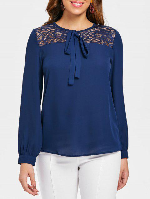 Hollow Out Lace Trim Blouse - ROYAL BLUE L