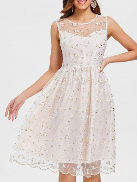 Tiny Flower Lace Overlay Cocktail Dress - SEASHELL M