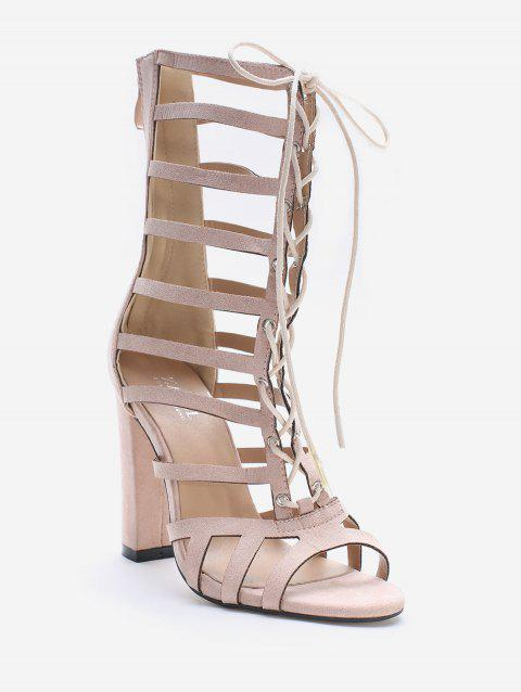 High Heel Cadged Hollow Out Gladiator Sandals - SAKURA PINK 38