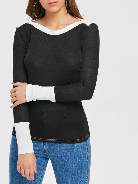 Slim Fit Boat Neck Top - BLACK M