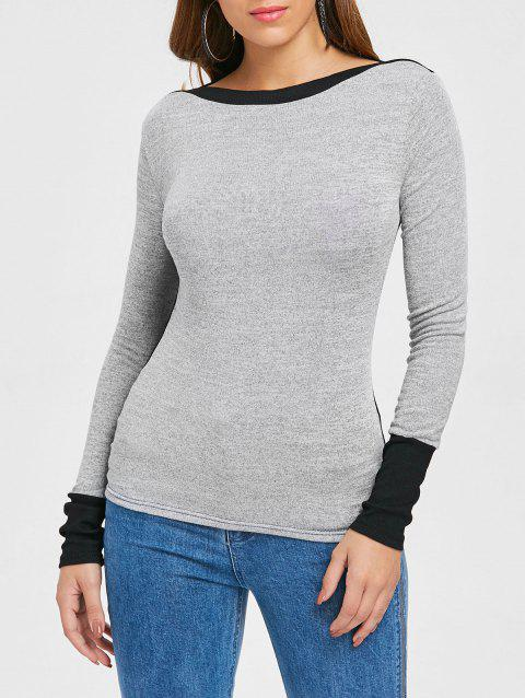 Slim Fit Boat Neck Top - GRAY XL