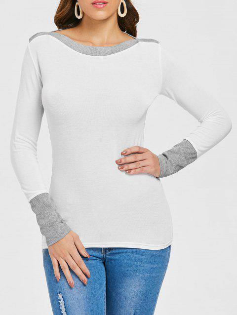 Slim Fit Boat Neck Top - WHITE M