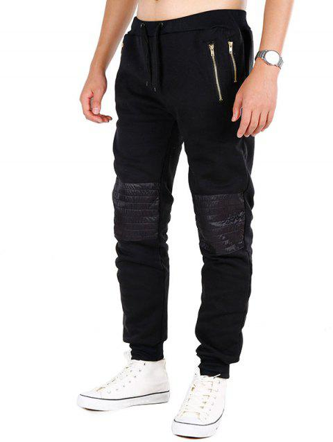 Zipper Pockets Knee Patchwork Fleece Jogger Pants - BLACK L