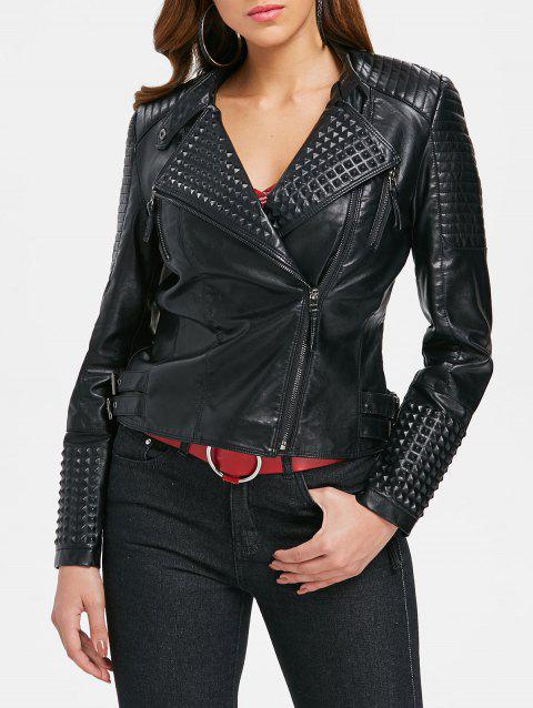 Rivet Faux Leather Lapel Jacket - BLACK XL