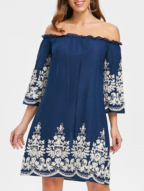Embroidered Off The Shoulder Dress - DEEP BLUE 2XL